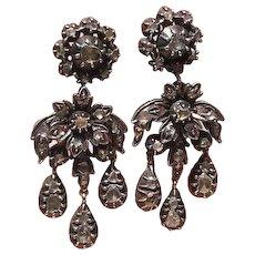 Authentic 1790 Pair of Diamond Georgian Earrings! Pristine!