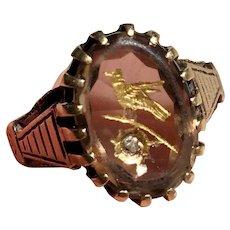 Victorian 14K Gold Rose of Sharon bird intaglio smokey quartz & Diamond ring