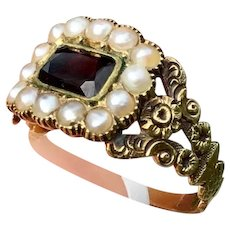 Antique GEORGIAN 15K Yellow Gold Garnet & Pearl Halo Ring Large Cluster Band