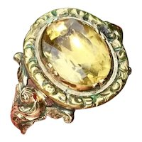 Fine Georgian 14ct Gold Foiled Back Natural Citrine Set Ring - Circa 1830