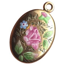 Antique Victorian / Nouveau 14K Solid Yellow Gold Enamel Rose flowers Pendant