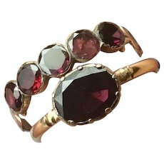 Georgian Flat cut Closed back Foiled Garnet 15K Gold Oval shaped Solitaire Ring