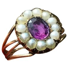 Fine Georgian 12ct gold rose gold Purple paste stone & Real Seed pearls ring
