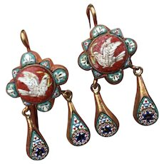 Antique Victorian Georgian 18K Gold Micro Mosaic Doves of Peace Italy Earrings