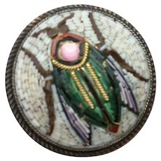 Mint!! 800 Victorian Silver Egyptian Very Fine Micro Mosaic Scarab Pin / Brooch