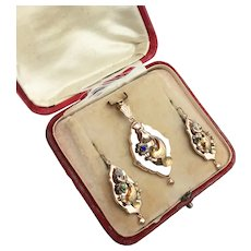 Antique 14K Gold Georgian Victorian Etruscan Pendant Brooch & Earrings Set boxed