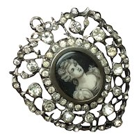 Antique Georgian Sterling & Paste Pierced Heart Shape Portrait miniature Lady Pendant