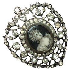 Antique Georgian Sterling & Paste Pierced Heart Shape Portrait miniature Lady Pendant