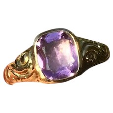 Antique Georgian 14K Gold Foiled Closed back Ornate Inscribed Amethyst Ring