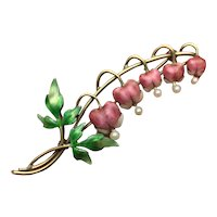 Antique Signed Krementz Floral Brooch - 14K Gold Enamel & Pearl Bleeding Hearts
