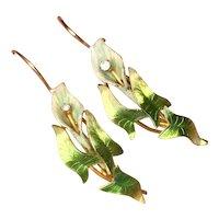 Antique Art Nouveau Krementz 14K Gold Diamond Enamel Calla Lily Flower Earrings