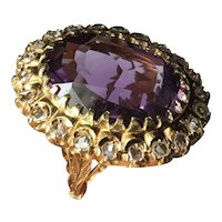 1930s Antique Art Deco 14k Yellow Gold Amethyst ROSE CUT Diamond Cocktail Ring