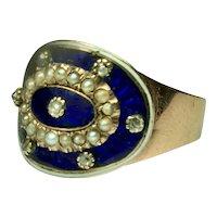 Georgian 14k Gold Diamond Pearl Blue & White Enamel Cigar Band Ring Size 7