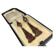 Antique Victorian Scottish Pebble 15Ct Gold & Agate Earrings Circa 1880