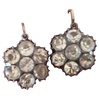 Georgian Solid Sterling Silver Back To Front Closed Back Earring Paste