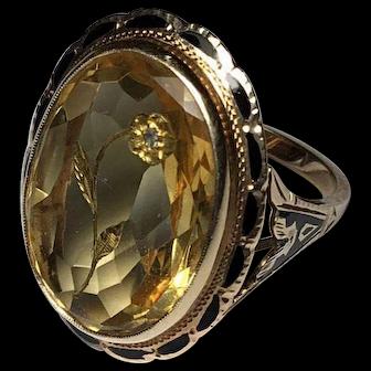 ANTIQUE Victorian 1870's 14K Intaglio BLACK Enamel Citrine Diamond Flower ring