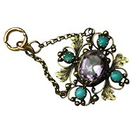 15K Gold Foiled Amethyst & Turquoise Georgian / Victorian Cannetille Pendant