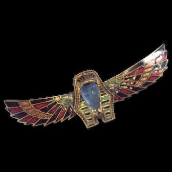 DECO King Tut Brooch Egyptian Revival, 30's, Czech Glass, Enamel, Winged Pharaoh