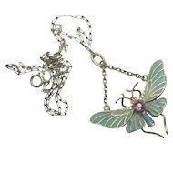 Signed Depose Plique A Jour Nouveau 800 Silver Amethyst Paste Butterfly Pendant