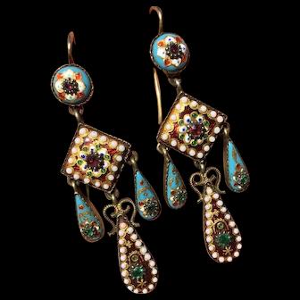 Georgian / Victorian French Bresse Enamel Silver & Gold Bressan Earrings Stones