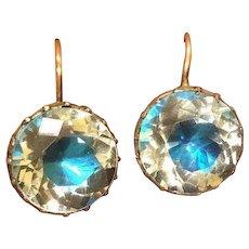 Georgian Blue Foil Rock Crystal Silver & 9 Carat Gold Earrings