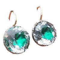 Georgian Emerald Green Foil Rock Crystal Silver & 9 Carat Gold Earrings