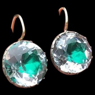 Georgian Emerald Green Foil Rock Crystal Silver & 9 Carat Gold Earrings