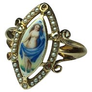 1800'S 15K Nude Goddess Victorian Georgian Hand Painted Enamel Ring Rare Unusual