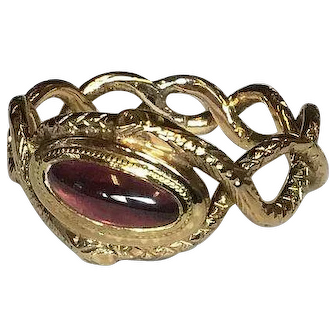 Rare!!! Georgian Victorian 18k gold Garnet 2 snakes Intertwined to form a band!