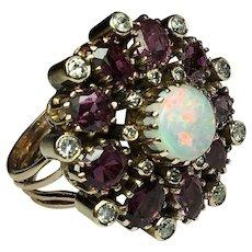Vintage, Hand Made, 14k, Yellow Gold, Garnet, Opal, Diamond, Ring