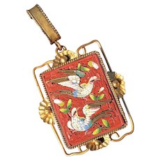 Pristine Italian 2 DOVES micro mosaic gold plated pendant from the 1800s