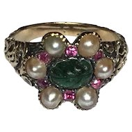 Rare C1800 Georgian 14K Yellow Gold Pearl Carved Emerald Ruby Engraved Ring