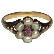 Antique Late Georgian Early Victorian 15ct gold alamadine Garnet and Pearl Locket ring size l 5.5