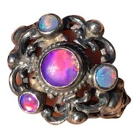 1800s Victorian Astro Hungarian 800 silver hallmarked ornate Opal ring with tons of fire!!!