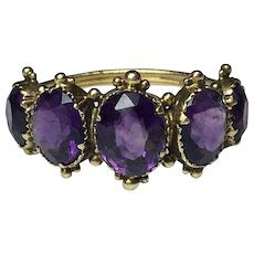 Georgian 15ct Yellow Gold 5 Siberian Amethyst stones Ring with very ornate setting