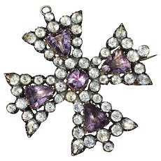 Large Georgian 15ct Gold Cross with White and Amethyst colored paste stones Pendant / Brooch