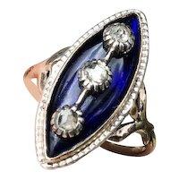 Antique Georgian 1780 -1800 CELESTIAL Blue Glass and Diamond 14K Navette Ring