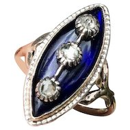 Antique Georgian 1780 -1800 CELESTIAL Blue Glass and Diamond 14K Navette Ring