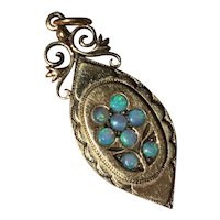 Vintage Antique 14K Yellow Gold Opal Glass Hair Picture Locket Pendant