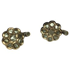 Antique Victorian Earrings~ 10k Rose gold MINE Cut Diamonds~Lever Back~c 1800's