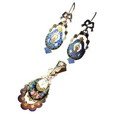 Antique Victorian Nouveau French Enamel hair locket memorial pendant earring set