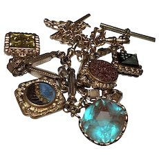 Victorian watch chain fob necklace Huge faceted SAPHIRET & 4 double sided fobs