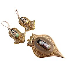 Victorian 14K Gold Masquerade ball ladies with masks and Seed Pearl demi-parure set Pendant and Earrings