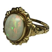 Lovely Marked 10k Victorian Opal ring with lots of fire!