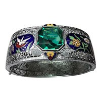 Silver Rhodium bracelet with 6 color enamel birds and flowers with Green paste stone
