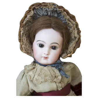 "19"" (48cm) Stunning Early Antique French Incised Depose Bebe doll, Emile Jumeau size 8, original costume!"