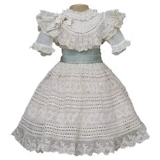 "Antique Original Superb French Lace Party Dress for Jumeau Bru Steiner Eden Bebe Gaultier and other french doll about 21-22"" tall"