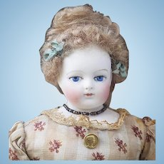 """11"""" (28cm) Extremly Rare Antique All Original French Fashion Gaudinot & Popineau marked doll, c.1865"""