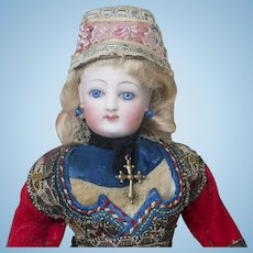 """10"""" (25 cm) Wonderful French Small Fashion doll by Gaultier in All-Original Brittany Traditional Costume, excellent condition!"""