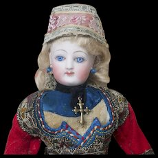"10"" (25 cm) Wonderful French Small Fashion doll by Gaultier in All-Original Brittany Traditional Costume, excellent condition!"